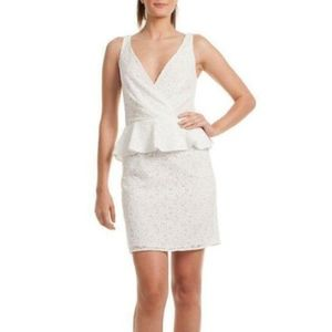 Trina Turk Peplum V-Neck White Sleeveless Dress